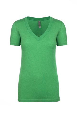 Next Level Ladies 4.3 Ounce Tri-Blend Deep V-Neck T-Shirt