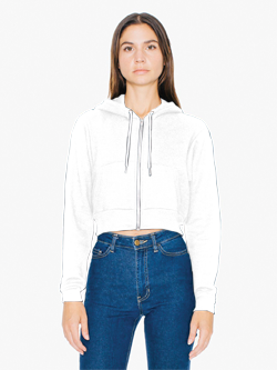 American Apparel 8.2 Ounce Ladies' Flex Fleece Cropped Zip Hooded Sweatshirt